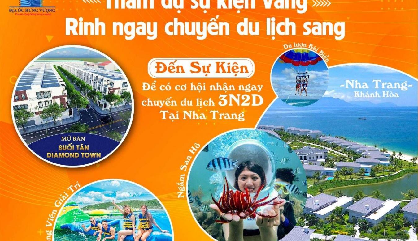 """Du lịch Nha Trang tìm hiểu đất vàng - Cơ hội nhận chuyến du lịch Nha Trang tại sự kiện mở bán """"Suối Tân Diamond Town"""""""